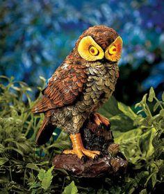 BROWN   Solar Power Lighted Hooting Owl Garden Yard Motion Sensor Halloween  New