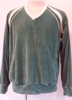 Vintage SEARS Sportswear Velour Green Pull~over Men's Jacket Casual Shirt Large #SearsSportswear #VelourPullover