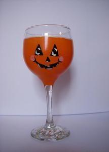Pumpkin Hand Painted Wine Glass
