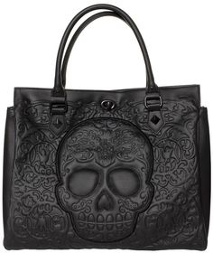 LOUNGEFLY BLACK ON BLACK LATTICE SKULL TOTE Loungefly brings you one big, bad tote bag! This black on black faux leather, oversized purse features an intricate skull & lattice pattern, black turn lock closure along with zip top & sturdy handles. Gyaru, Moda Rock, Skull Purse, Pin Up, Estilo Rock, Mk Bags, Tote Bags, Black Faux Leather, Mode Style