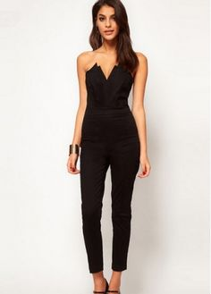 Hot Sale Women V Neck Off the Shoulder Black Jumpsuit