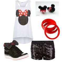 """minnie mouse inspired outfit."" by alleyswag on Polyvore Polyvore Clothes  Outift for • teens • movies • girls • women •. summer • fall • spring • winter • outfit ideas • dates • parties Polyvore :) Catalina Christiano"