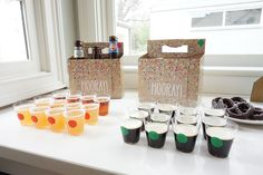 Swell Parties: {A Beer Tasting Couple's Shower: Wedding Season} Beer Greetings cartons for beer themed couple's shower! Polka dot shot glasses and how to throw a beer tasting party. Wedding shower and baby shower ideas. Beer shot glasses with colorful coordinating dots. Red, green, yellow and blue party colors. Chocolate covered pretzels to compliment the beer flavors.