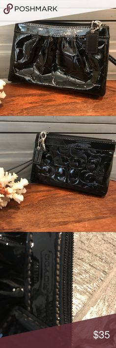 Coach patent leather wristlet Exterior in excellent, interior as well, just could use a very light cleaning. A stylish way to carry just the essentials. Coach Bags Clutches & Wristlets