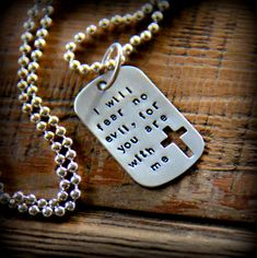 Men's Dog Tag Necklace, Mens Religious Jewelry Necklace, Cross God, I will fear no evil Dog Tag, Arm Mens Dog Tag Necklace, Mens Silver Necklace, Silver Earrings, Cross Jewelry, Jewelry Art, Jewelry Necklaces, Dog Tags Military, Navy Military, Army Gifts