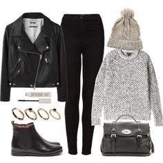 A fashion look from December 2013 featuring chunky gray sweater, black zip up jacket и high rise skinny jeans. Browse and shop related looks.