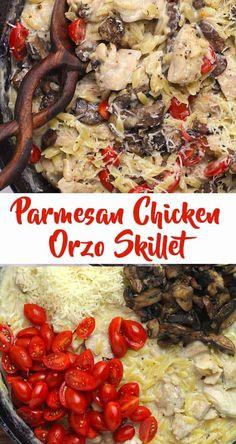 Parmesan Chicken Orzo Skillet combines chicken thighs with orzo pasta, cherry tomatoes, and mushrooms with a creamy parmesan sauce. This delicious one skillet meal can be made in under an hour, and is perfect for weekday cooking! | suebeehomemaker.com | #parmesanchickenorzoskillet #chickenorzoskillet #onepanmeal Parmesan Sauce, Chicken Parmesan Recipes, Chicken Orzo, Chicken Meals, Italian Soup, Italian Recipes, Easy Pasta Recipes, Rice Recipes, Light Pasta Salads