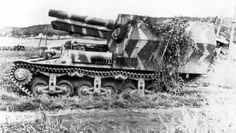 15cm s.FH 13/1 (Sf) auf Geschützwagen Lorraine Schlepper(f) in Normandy with long extended large tail spade at the rear.