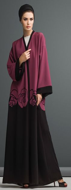 Mauzan abaya Dubai.. Work : Flowery Lasercut Design Fabric : Black + Colored Crepe