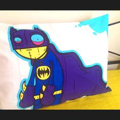 SUPER awesome, Bat Boy artwork by Melbourne Street artist Lifetime StickyFingers.100% Cotton sateen50 x 70cm