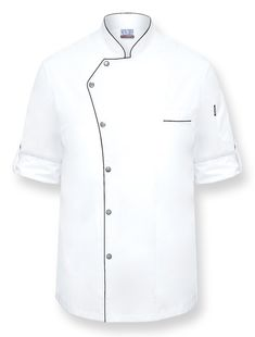 GINO Chef Coat Style: NC-GINO • White Poly/Cotton lightweight twill fabric • Roll up sleeves with matte silver button tabs • 6 Matte silver snap button closure • Black trim on collar, front pa Chef Dress, Doctor Coat, Restaurant Uniforms, Uniform Design, African Men Fashion, Mens Fashion Suits, Mens Sweatshirts, Shirt Style, Chef Jackets