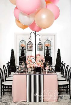 Lots of pretty ideas but CHECK OUT THOSE BALLOONS. Lol love balloons! And birdcages!