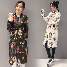 32.99$  Watch now - http://ai4jn.worlditems.win/all/product.php?id=32753053442 - Fashion Winter Women Long Coat Warm Down Cotton Coat for Woman Cartoon Print Slim Women Long Jacket Padded Outwear Parkas Female