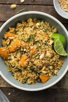 A hearty Thai sweet potato quinoa salad brightened with lime and ginger. Ready in under an hour and perfect for lunch or dinner.