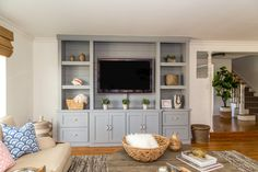 Painted Entertainment Centers, Living Room Entertainment Center, Custom Entertainment Center, Entertainment Wall, Living Room Built Ins, Living Room Tv, Family Room Design, Decoration, Orange County