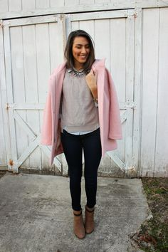 Go for something practical yet current with a pink coat and navy skinny jeans. Brown suede ankle boots make your ensemble complete. Warm Outfits, Cute Outfits, Spring Outfits, Pink Coats For Women, Blue Denim Shirt, Denim Shirts, Dark Blue Skinny Jeans, Grey Outfit, Nice Dresses