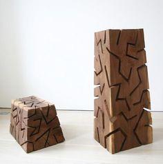 David Nash (British, b.1945)  Zig and Zag Blocks  Black Walnut, North California .2008  part one: 95 x 40 x 33 cm  part two: 37 x 50 x 37cm