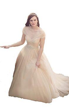 Uryouthsytle Champagne Off Shoulder V Neck Wedding Dresse... https://www.amazon.com/dp/B01HXBLTLC/ref=cm_sw_r_pi_dp_t.HExb25SBQVM