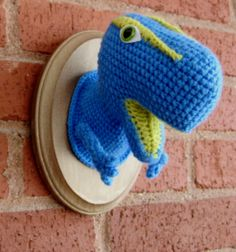 Marvin the TRex  Blue and Lime by Crochette on Etsy