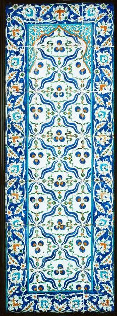 Tile panel    Location:  Edinburgh, Scotland, United Kingdom    Holding Museum:  Royal Museum, National Museums of Scotland (NMS)        Date of Object:  Hegira, late 12th century / AD mid-18th century  Length 174 cm, width 61 cm  Period / Dynasty Ottoman  Provenance: Probably made at the Tekfur Saray factory in Istanbul, Turkey.