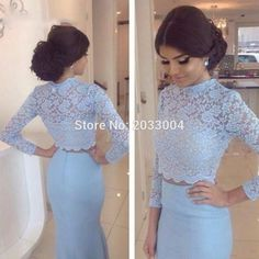 Find More Prom Dresses Information about Two Pieces Long Sleeves Prom Dress 2016 High Neck Light Blue Mermaid Lace Top Satin Prom Downs Vestido De Festa,High Quality lace orange,China lace mother of bride dresses Suppliers, Cheap lace leggings plus size from Lulu Design on Aliexpress.com