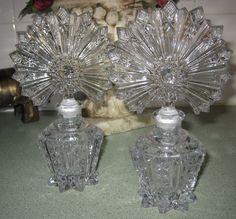 PAIR OF VINTAGE ART DECO FAN TOP CRYSTAL CUT GLASS PERFUME BOTTLE