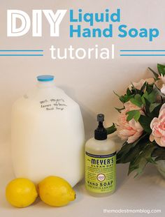 Make your own liquid hand soap with a bar of Mrs. Meyers soap! You can save so much money through this DIY project!