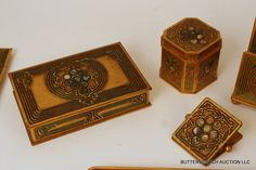 "TIFFANY STUDIOS ""ABALONE"" PATTERN DESK SET"