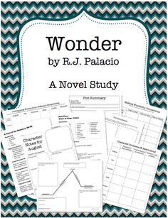 Awesome 170-page novel study unit on the book Wonder by RJ Palacio.