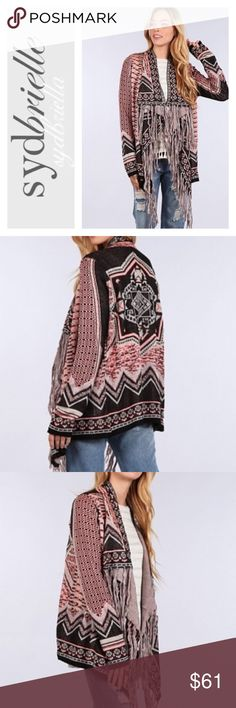 ⚜NEW ARRIVAL ⚜FRINGE TRIBAL BOHO SWEATER ⚜NEW ARRIVAL ⚜BLUE PEPPER⚜ CARDIGAN FRINGE TRIBAL BOHO SWEATER. 100%Acrylic. BLUE-PEPPER IS CARRIED IN ALL MAJOR DEPARTMENT STORES. THIS IS A FIRST LOOK AND WAS JUST RELEASED. ITS STUUNING⚜ Blue Pepper Sweaters Cardigans