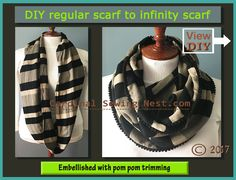 How to make an infinity scarf from a regular scarf. Scarf makeover