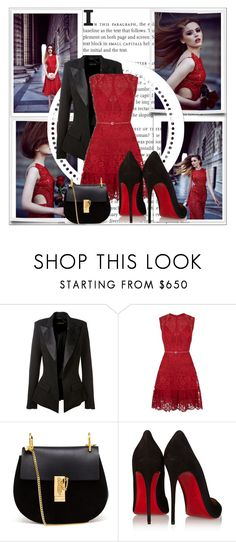 """""""Red dress"""" by cherry-bh ❤ liked on Polyvore featuring Alexandre Vauthier, Elie Saab, Chloé and Christian Louboutin"""