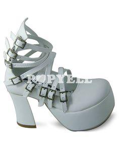 #lolita #chaussures #boucles Blanc boucles chiot talon PU Lolita Shoes a prix pas cher chez Popyell.com
