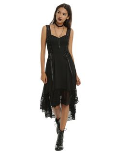 """<p>Want to dip your toes into the steampunk look? This dress is the perfect way to try it on for size!Black chiffondress from Royal Bones with double corset lace-up front details, a V-neck, ruffle lace hi-low hemand lace shoulder straps. Back zipper closure.</p>  <ul> <li>Shell and lining: 100% polyester</li> <li>Lace: 95% polyester; 5% spandex</li> <li>Hand wash cold; dry flat</li> <li>41 1/2"""" from shoulder to front hem</li> <li>55"""" from shoulder to bac..."""