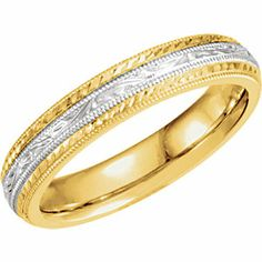 Hand Engraved Wedding Band- Style # HE573 Shown in Yellow, White, Yellow Gold, Also available in Yellow, White and Rose Gold Combinations info@bnjewelry.com Contact your local jeweler for pricing and styles!