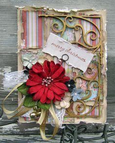 """Merry Christmas"" card using Rejoice ~ IOD/Creative Imaginations and Petaloo the next best thing by lynne"