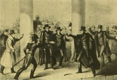 January 30, 1835: At the Capitol Building, a house painter named Richard Lawrence aimed two flintlock pistols at President Andrew Jackson, but both misfired, one of them while Lawrence stood within 13 feet of Jackson, and the other at point-blank range.    Lawrence was apprehended after Jackson beat him down with a cane. Lawrence was found not guilty by reason of insanity and confined to a mental institution until his death in 1861.