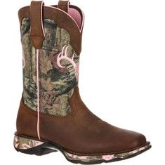 """Women's+Durango+Boot+DRD0051+10""""+Camo+Lady+Rebel+-+Distressed+Brown/Camo+Leather+Nylon+with+FREE+Shipping+&+Exchanges.+The+10++Camo+Lady+Rebel+boot+is+designed+to+offer+comfort.+Its+double+row+"""