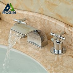 (56.05$)  Buy here - http://aiznz.worlditems.win/all/product.php?id=32462705546 - Deck Mount Waterfall Spout Basin Sink Mixer Taps Chrome Brass Bathroom Bathtub Faucet Set Dual Handles