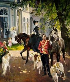 A Russian scene with horses and borzoi by Vladimir Pervunensky