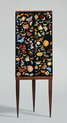 """""""Corner cabinet with reverse-painted glass doors"""" Designed by Gio Ponti, and the doors were painted by Fornasetti. The """"farfalle"""" (butterflies) decoration is a motif that Fornasetti regularly employed. Funky Furniture, Painted Furniture, Home Furniture, Furniture Design, Furniture Stencil, Furniture Showroom, Steel Furniture, Plywood Furniture, Unique Furniture"""