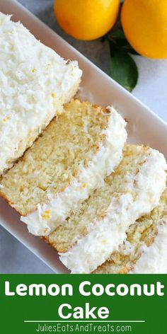 Moist Flavorful Homemade Lemon Coconut Cake Tender Fluffy Lemon Loaf Cake Topped with Cream Cheese Frosting Coconut and Lemon Zest Visit for more easy family friendly rec. Kokos Desserts, Desserts Ostern, Coconut Desserts, Coconut Recipes, Lemon Desserts, Köstliche Desserts, Lemon Recipes, Sweet Recipes, Baking Recipes