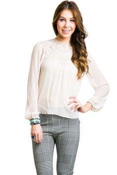 $16 at www.heavenlycouture.com | Urban Sheer Longsleeve Knit Design Top in Beige