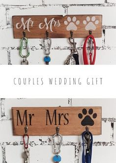 Farmhouse style wooden key and lead holders perfect wedding gift for a couple with dogs. Mr and Mrs rustic hallway organiser for keys and pets leads. Handmade Wedding Gifts, Rustic Wedding Gifts, Wedding Gifts For Couples, Handmade Gifts, Wooden Key Holder, Wall Key Holder, First Home Gifts, New Home Gifts, Rustic Wall Decor