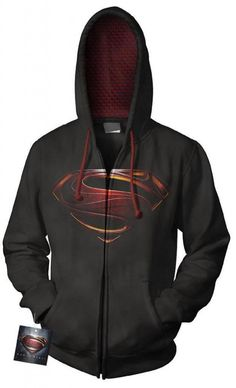 """""""MAN OF STEEL"""" BLACK """"S"""" SHIELD PROMO ZIP UP HOODIE RARE SIZE SMALL SUPERMAN S"""