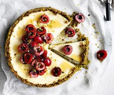 Labne & pistachio cheescake - Gourmet Traveller - a luscious silky tangy cheesecake – gluten and refined sugar free is a bonus. Pistachio Cheesecake, Cheesecake Recipes, Dessert Recipes, Labneh Cheesecake Recipe, Pistachio Cake, Fruit Recipes, Light Desserts, Gluten Free Sweets, Cupcakes
