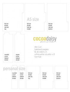 free tab divider cut files for personal and A5 planner
