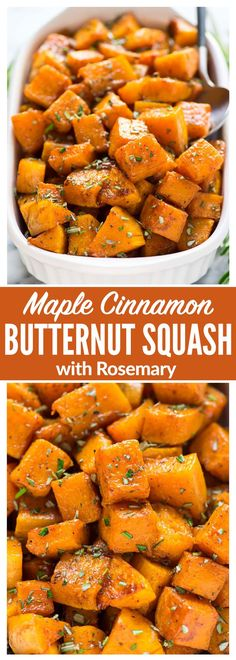 Easy Maple Cinnamon Roasted Butternut Squash. Sweet cubes of butternut squash tossed with maple syrup, cinnamon, and rosemary, roasted to caramelized perfection. Our family's favorite Thanksgiving, Christmas, or any time you need a simple and healthy weeknight side. {vegan, gluten free, Paleo, Whole30} #ThanksgivingRecipes #christmas #sidedish #vegan