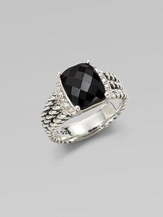 David Yurman Diamond Accented Black Onyx Ring...I have the bigger one...Love it!