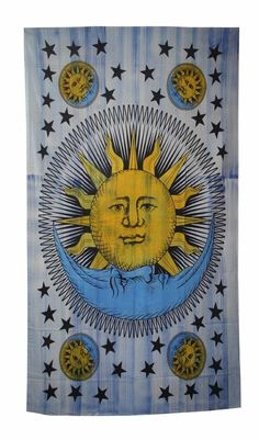 Sun and Moon Wall Hanging Tapestry Hippie Art Throw Bedspread Home Decor Sun And Moon Tapestry, Mandala Tapestry, Bohemian Tapestry, Indian Mandala, Hippie Art, Tapestry Wall Hanging, Art Deco Fashion, Wall Prints, Printed Cotton